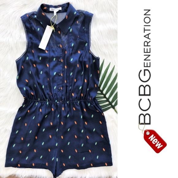 BCBGeneration Pants - BCBGeneration parrots print deep blue romper L NEW